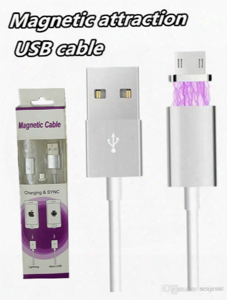 Magnetic Charger Cable 1m Quick Charging Led Lighting Metal Micro Usb Sync Cable Cablel For Samsung Galaxy S7 S7edge Andriod Phone