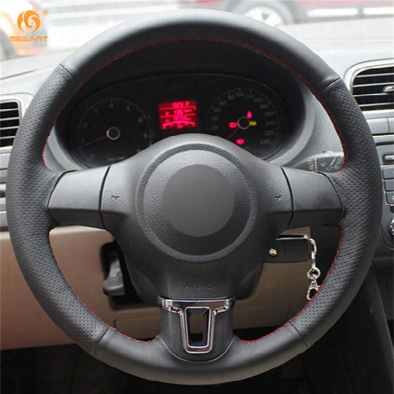 Mewant Black Artificial Leather Car Steering Wheel Cover For Volkswagen Golf 6 Mk6 Vw Polo Mk5 2010-2013