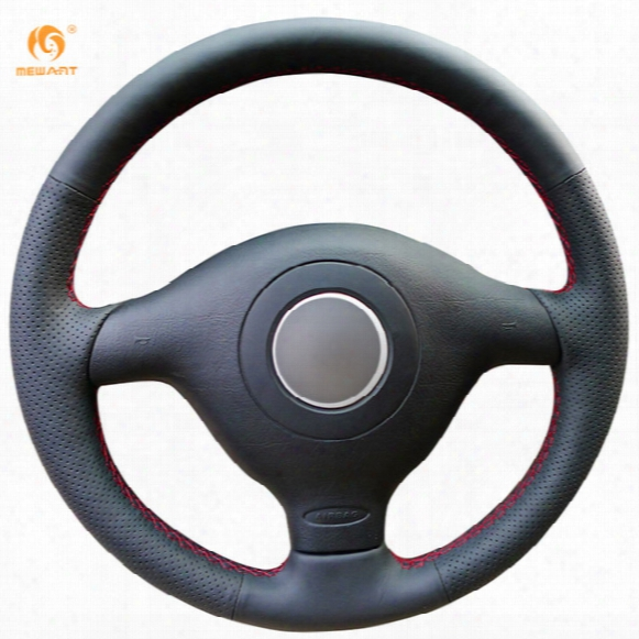 Mewant Black Genuine Leather Car Steering Wheel Cover For Volkswagen Vw Golf 4 Passat B5 1996-2003 Polo 1999-2002 Seat Leon 1999-2004