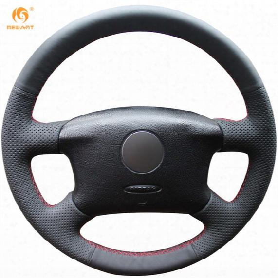 Mewant Black Genuine Leather Car Steering Wheel Cover For Volkswagen Passat B5 Vw Passat B5 Vw Golf 4 Skoda Octavia 1999-2005