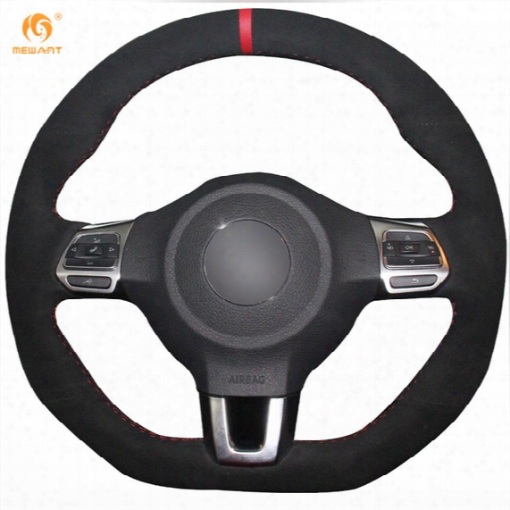 Mewant Black Suede Red Marker Car Steering Wheel Cover For Volkswagen Golf 6 Gti Mk6 Polo Gti Scirocco R