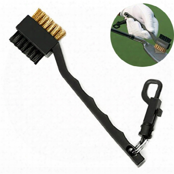 New 18cm Portable Plastic 2 Sided Golf Brush Club Cleaning C1eaner Tools With Snap Clip