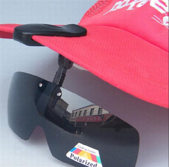 New Arrival Polar Ized Hat Visors Sport Clips Cap Cip-on Sunglasses For Fishing/biking/hiking/golf/ski Black/brown Released Shipping