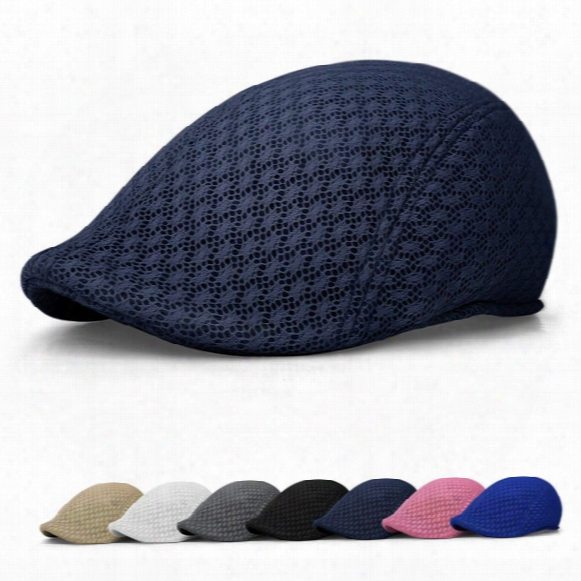 New Fashion Unisex Men Women Sun Mesh Beret Cap Newsboy Golf Cabbie Flat Peaked Sport Hat Casquette