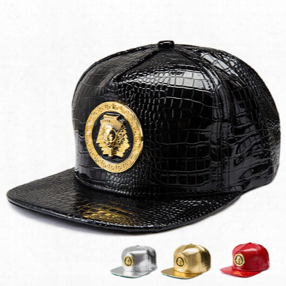 Punk Style Golden Pu Leather Egyptian Pharaoh Avatar Baseball Caps Men Women Golf Gorras Snapback Hat Last Kings Hip Hop Crystal Hats