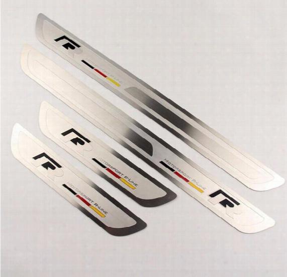 R Style Thin Stainless Steel Welcome Pedal Door Sill Strip For Vw Volkswagen Magotan Bora Sgaitar Cc Golf Car Accessories