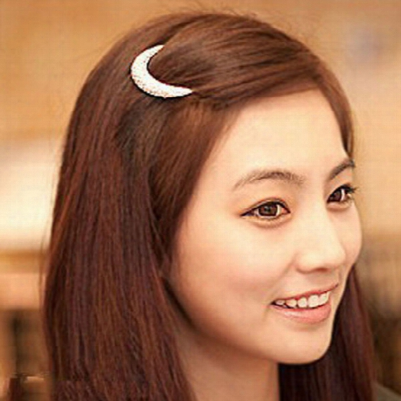 Silver Rhinestone Moon Hair Pin Hairpin Hair Accessory Hairpin Side-knotted Clip Bangs Clip Frog Clip 12pcs/lot