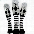 Free shipping wholesale 3pcs/set Golf Club Driver 1# 3# 5# Pom Pom Wool Knitted Head Covers Gray with Black Headcover Set