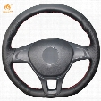 Mewant Black Genuine Leather Car Steering Wheel Cover for Volkswagen VW Golf 7 Mk7 New Polo 2014 2015 2016 2017