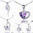 Solid 925 Silver Love Pendant Amethyst Crystal Charm Fit Necklace Jewelry 5pcs Mixed Style Free Shipping