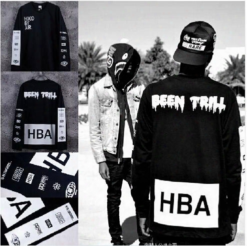 Wholesale-100% Cotton Mens Hba Shirt Long Sleeve Hoodbyair Been Trill Hip Hop T Shirt Fa Shoin Streetwear Women Men Black White Xs-xxl