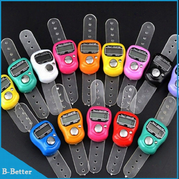 Wholesale- 100pcs Digital Electronic Muslim Finger Ring Tally Counter Tasbeeh Tasbih Golf &temple Finger Counter Wholesale Muslim Counter