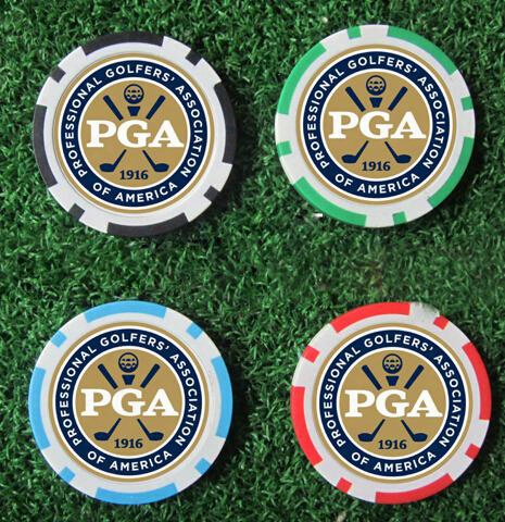 Wholesale- 10ea New Design Pga Golf Poker Chip Ball Marker Many Color 40cm Dia 11.5g Best Seller Golf Ball Marker