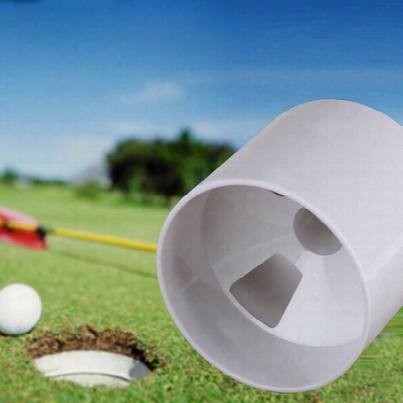 Wholesale- 1pc New Training Golf Aids White Plastic Golf Hole Cup Putting Putter Yard Garden Training Backyard Practice Stick Putting