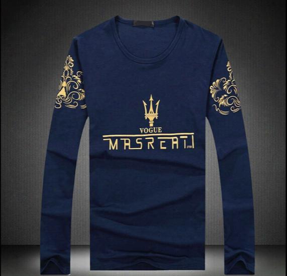 Wholesale-2015 New Maserati Style Brand Men Fashion Casual Men's Long Sleeve Solid Golf Tenis Camisa Masculina Shirts S-xxl