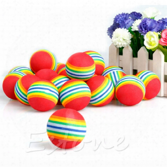 Wholesale- 20pcs/pack Rainbow Stripe Foam Sponge Golf Balls Swing Practice Training Aids