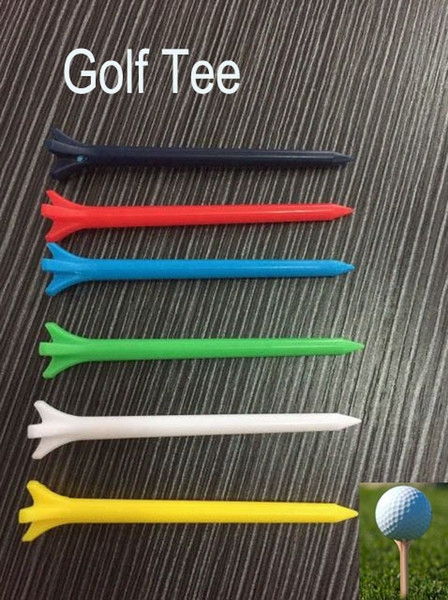 Wholesale-6 Colors Free Shipping 600pcs/lot 70mm Plastic Golf Tees High Quality Brand New