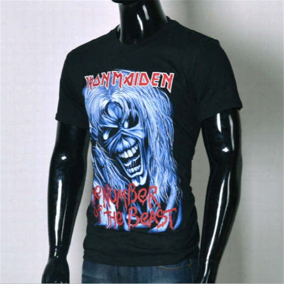 Wholesale-brand Clothing 2016 New Arrival Europe And America Top Hot 3d Tshirt Men's Casual T-shirt Iron Maiden Print Tops Tee Size S-xxl