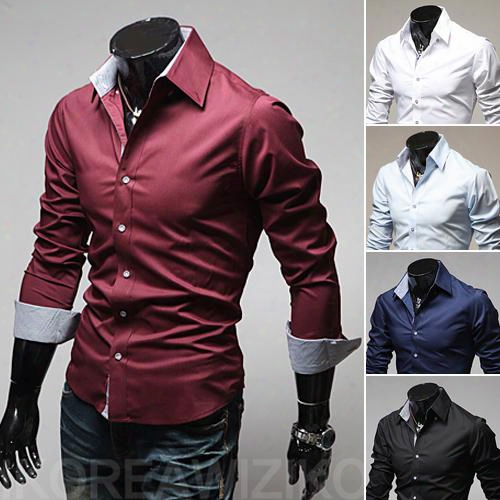 Wholesale- China Cheap Wholesale 2016 Spring Autumn New Faehion City Business Men Slim Casual Long-sleeved Shirt