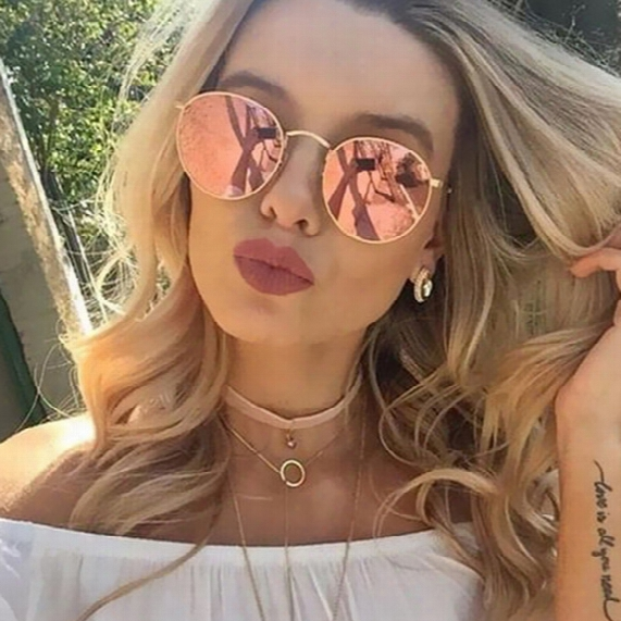 Wholesale-classic Vintage Round Mirror Brand Designer Sunglasses Metal Lady Circle Retro Uv400 Women Or Men Sun Glasses Rays Victory