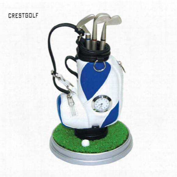 Wholesale- Crestgolf Creative Perfact Golf Present Golf Pen Holder Golf Bag Three Ballpoints And Clock 7 Colorsa Vailble