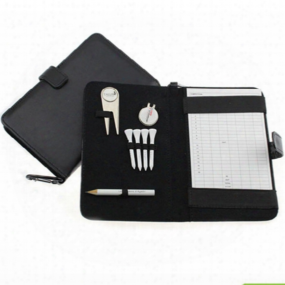 Wholesale- Crestgolf Golf Score Card Holder Pu Cover With Pencil /divot Tool/ Golf Tees/ Hat Clip