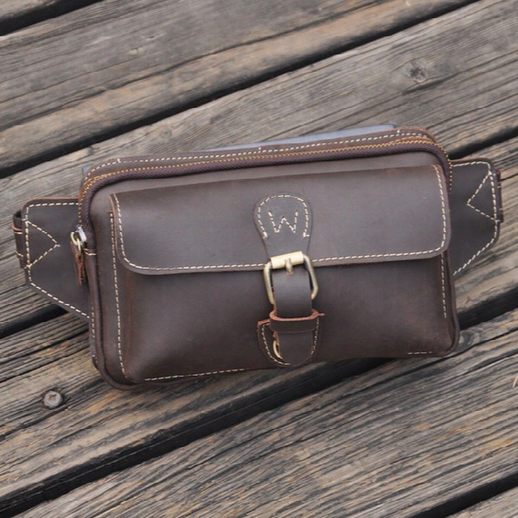 Wholesale-fashion Vintage Waist Packs Bga Men Genuine Cowhide Leather Waist Bag Leather Small Bags For Male Sport Packs Belt Bag 1123