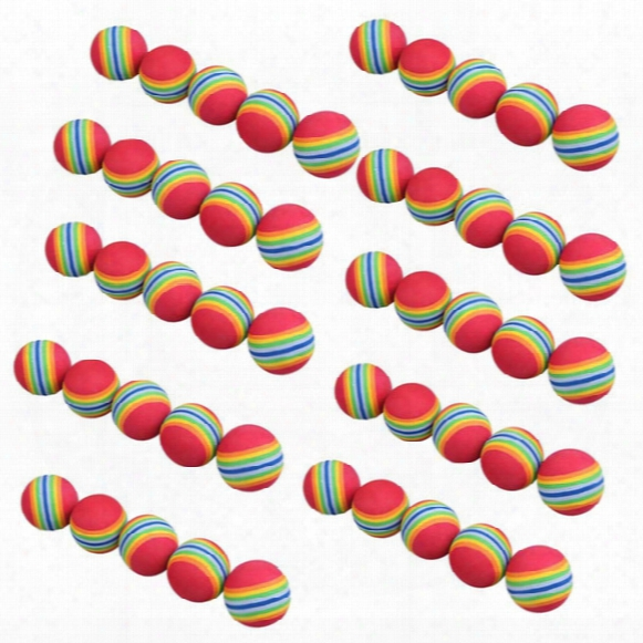 Wholesale- Free Shipping 50pcs/bag Rainbow Color Golf Training Foam Balls Golf Swing Indoor Training Aids Practice Sponge Foam Balls