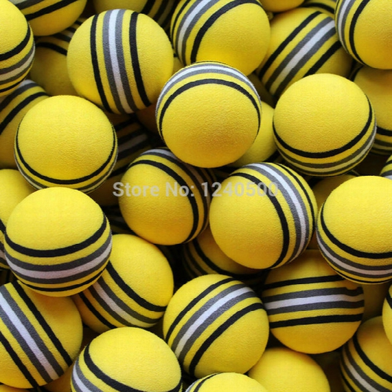 Wholesale- Free Shipping Hot New 50pcs/bag Eva Foam Golf Balls Yellow Rainbow Sponge Indoor Practice Training Aid