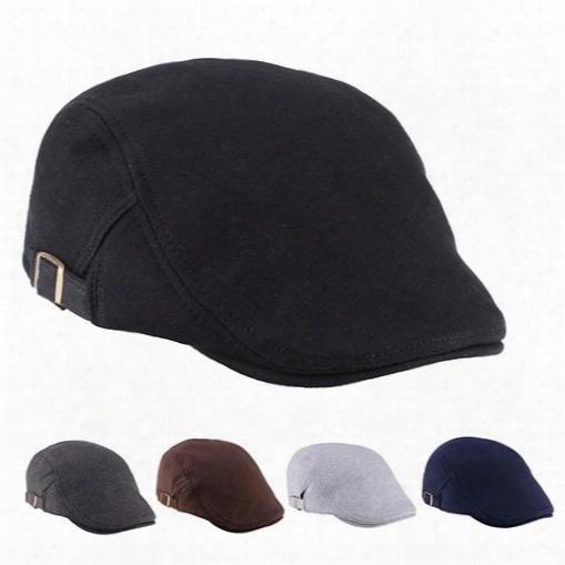 Wholesale- Men Women Duckbill Fashion Classic Beret Cabbie Cowboy Flat Hat Golf Driving Cap Store 51