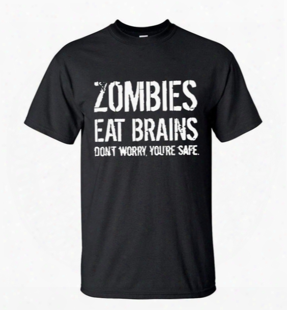 Wholesale-men's New Arrival T-shirt Zombies Eat Brains Don't Worry You're Safe 2016 Summer Short Sleeve Streetwear Tee Casual