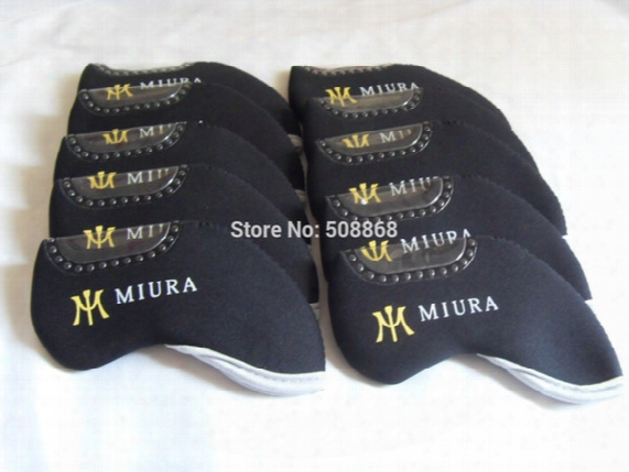 Wholesale-new 10pcs Black Neoprene Golf Miura Iron Headcovers Head Covers Club