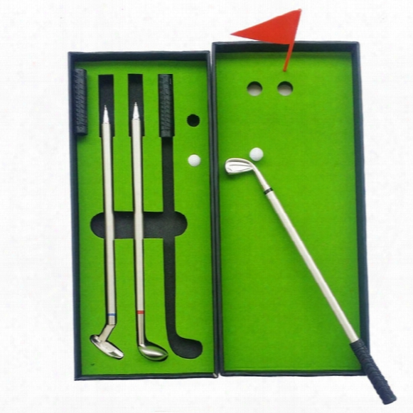 Wholesale- Novelty Golf Gifts Sets With 3pcs Golf Club Shaped Alloy Ballpoint Pens ,mini Flag,mini Ball