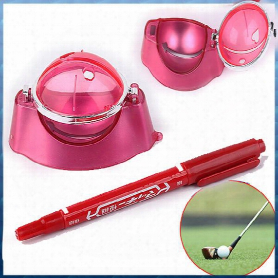 Wholesale- Red Golf Ball Line Liner Marker Pen Marks Template Alignment Tool Set Equipment Accessories Wholesale