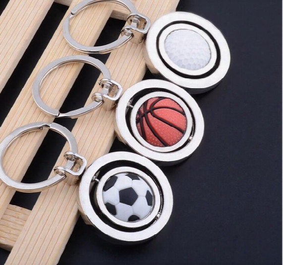100pcs/lot Fashion Sport Football Basketbal Golf Rugby Shape Keychain With Rolling Design