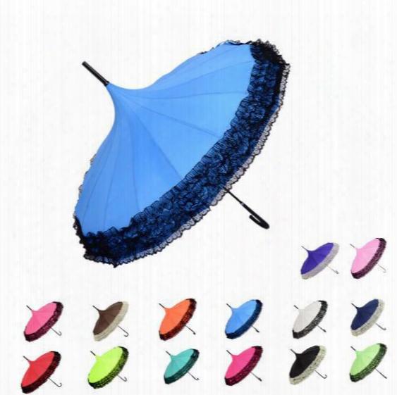 14 Colors Pagoda Umbrella Semi-automatic Lace Golf Fancy Sunny And Rainy Pagoda Umbrellas Retro Fresh Shoot Backdrop Umbrella Cca6700 30pcs