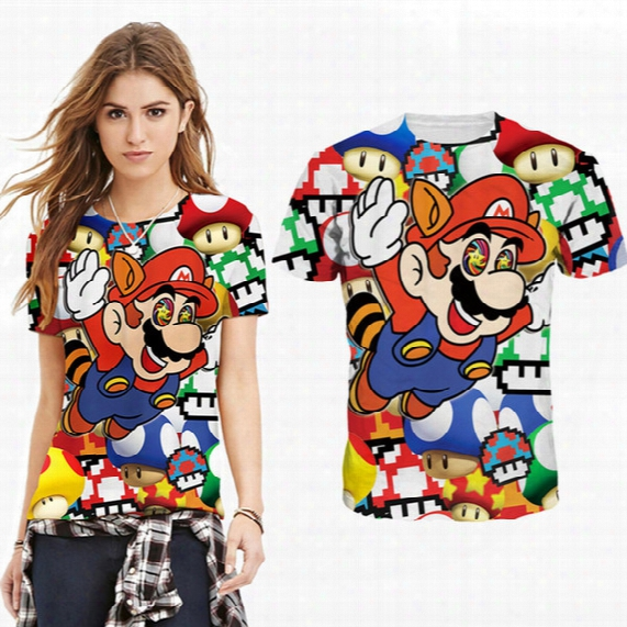 2016 New Fashion Woman/man Cartoon Mario Classic 3d Print Casual T-shirt Club Party Shirt Golf Baseball Football Yoga Basic Tee Short Sleeve