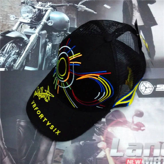 2016 New Men Women Summer Net Mesh Vr 46 Rossi Caps Hat Cool Men Moto Gp Baseball Cap Hats Mesh Golf Trucker Cap