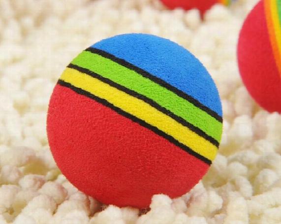 20pcs/lot Free Shipping Super Q Rainbow Toy Ball Small Dog Cat Pet Eva Toys Golf Practice Balls 35mm 42mm