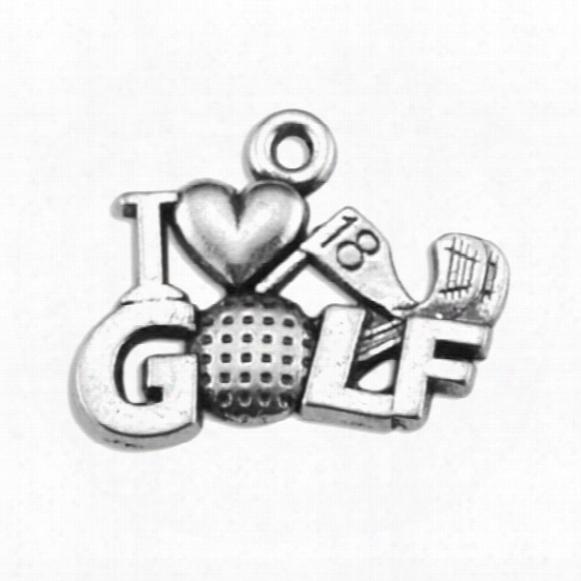 30pcs Metal Golf Ball I Love Golf Accessory Charm Jewelry
