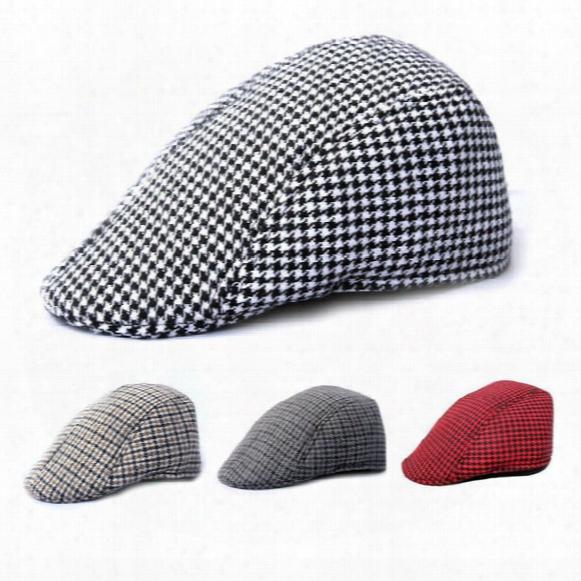 4color Mens Tweed Flat Cap Herringbone Country Peak Hat Farmer Golf Classic Free Shipping