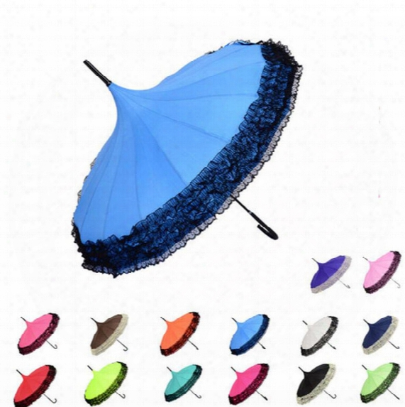 Elegant Lace Pagoda Umbrella Lace Golf Umbrella Fancy Sunny Rainy Pagoda Umbrellas Lace Trim Windproof Long Handle Parasol 14 Color Kka2119