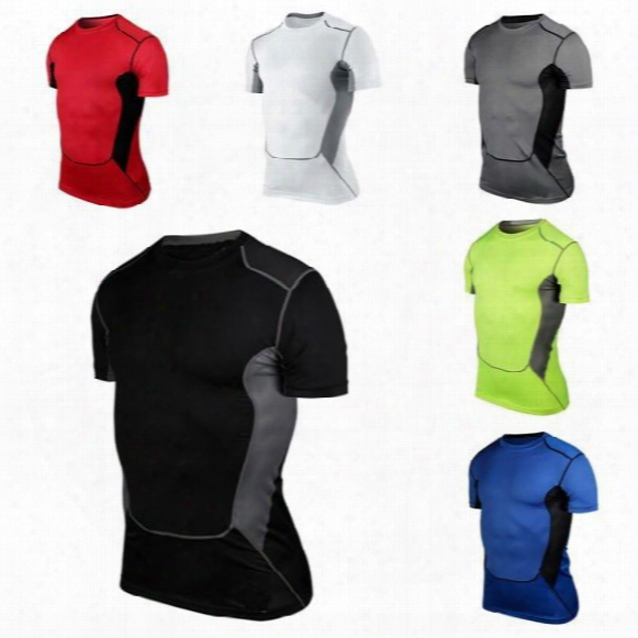 Men Compression Short Sleeve O-neck Sports Tight T Shirts Fast Drying Fitness Gym Base Layer Tops