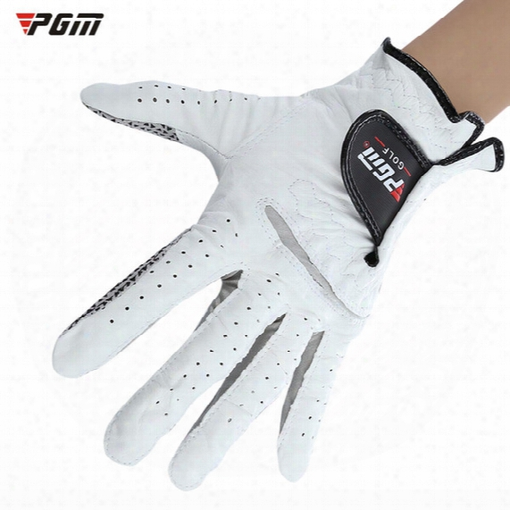 Pgm Genuine Leather Sheepskin Men Golf Gloves Soft Breathable Left Hand Golf Sports Gloves Slip-resistant +b