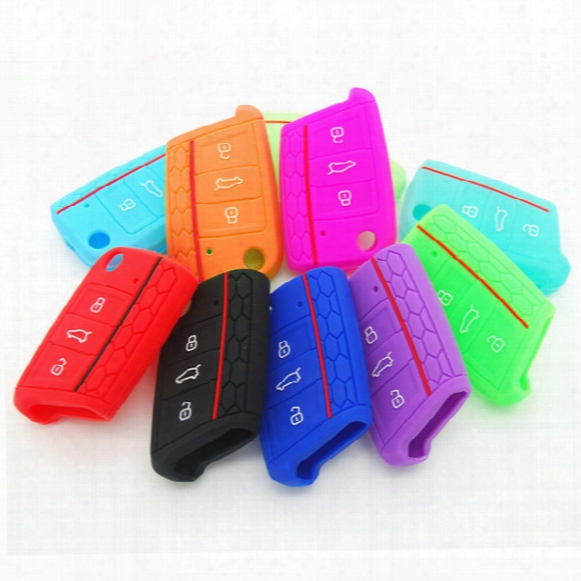 Silicone Key Case Cover For Volkswagen Vw Golf 7 Mk7 For Skoda Octavia A7 Key Protect Case Bag Car Accessories Aup_40z