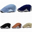 Wholesale-Men's Cabbie Newsboy Golf Style Assorted Colors Strip Peaked Cap Beret Hats