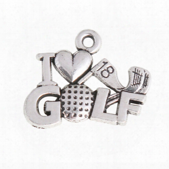 Vintage Expandable Bangle I Love Golf Charms The 18th Hole Golf Sport Alloy Charms 50pcs Aac1050