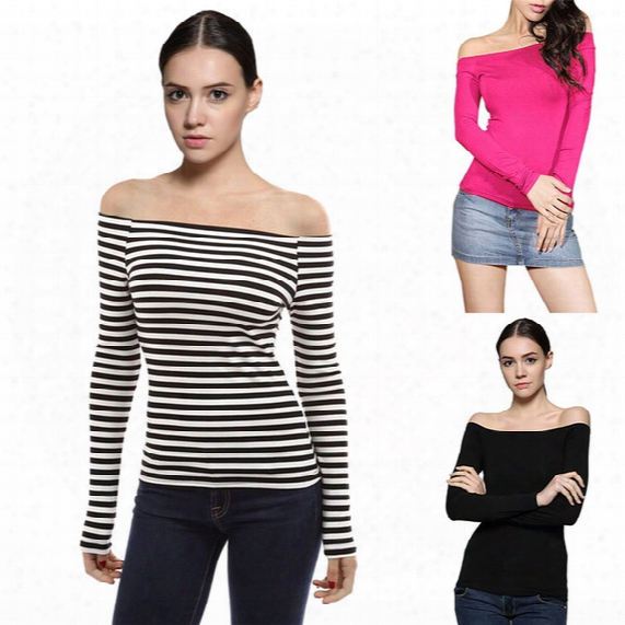 Wholesale-new Fashion 2016 Creative Fashion T Shirt Women Off Shoulder Long Sleeve Stretch Slim T-shirt Stripe Casual Sexy T-shirt