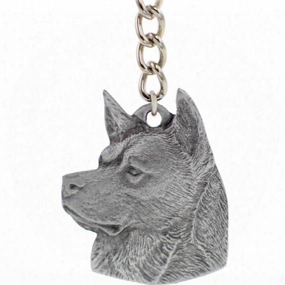 "Dog Breed Keychain Usa Pewter - Akita (2.5"")"