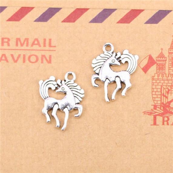 100pcs Tibetan Silver Plated Horse Unicorn Charms Pendants For Jewelry Making Diy Handmade Craft 19*25mm